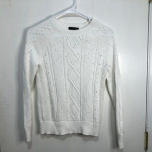 J Crew Crewneck Cable Pointelle Cotton Sweater